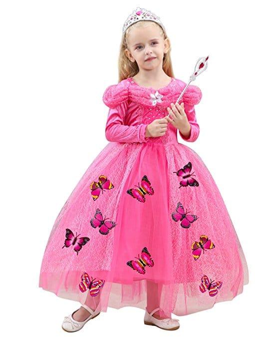 Robe de princesse rose fille manches longues