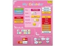 calendrier enfant rose francais anglais