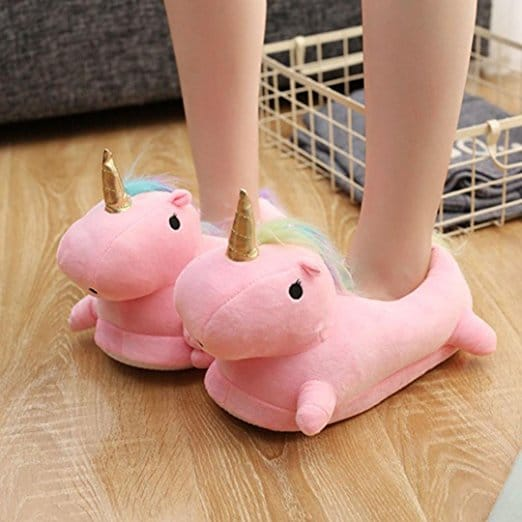 chaussons rose peluche
