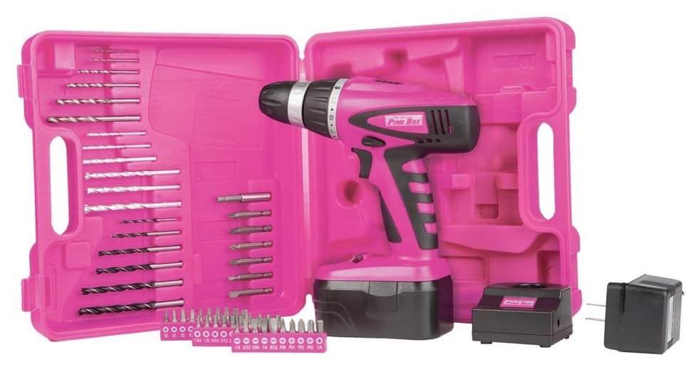 perceuse electrique rose avec meches