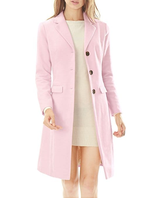 manteau rose laine