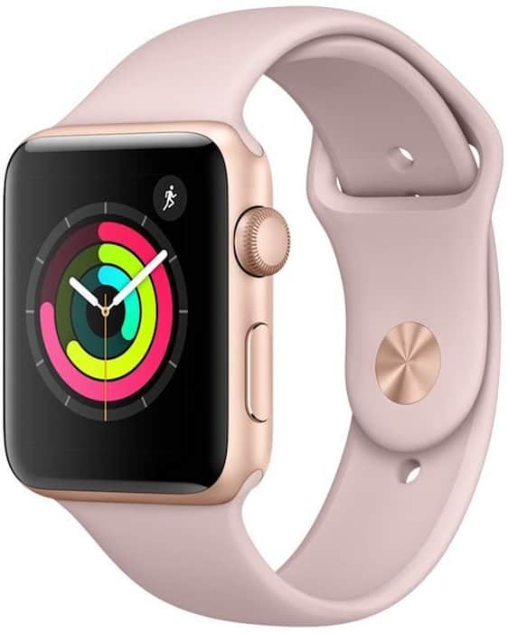 montre connectee rose Apple Watch