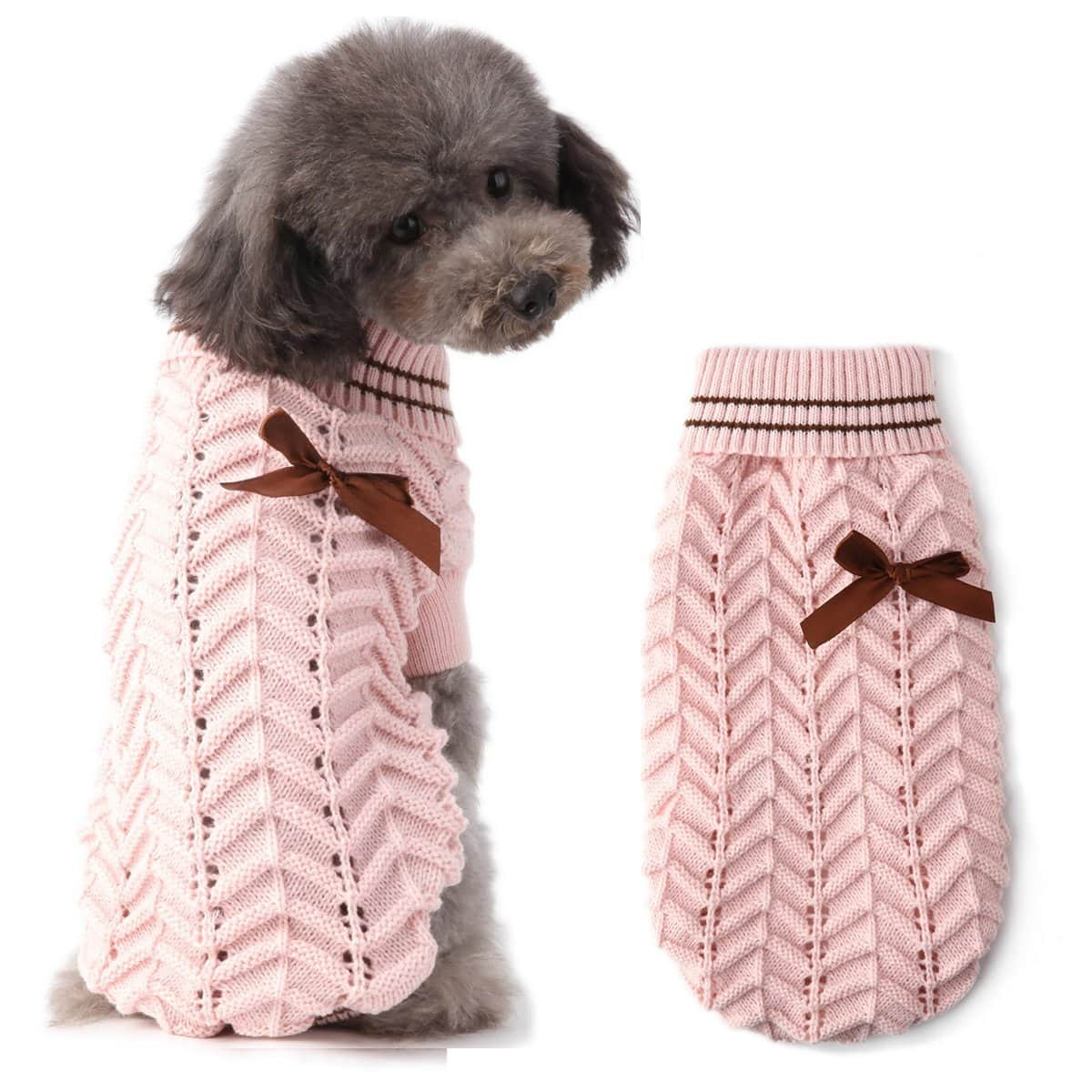 pull chien rose tricot