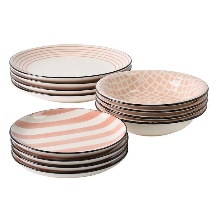 service vaisselle rose 12 assiettes