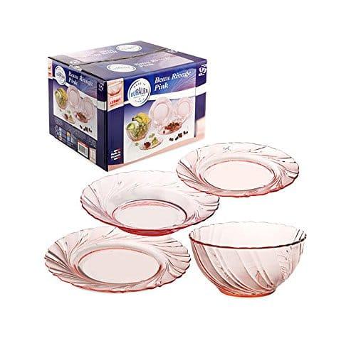 service vaisselle rose duralex