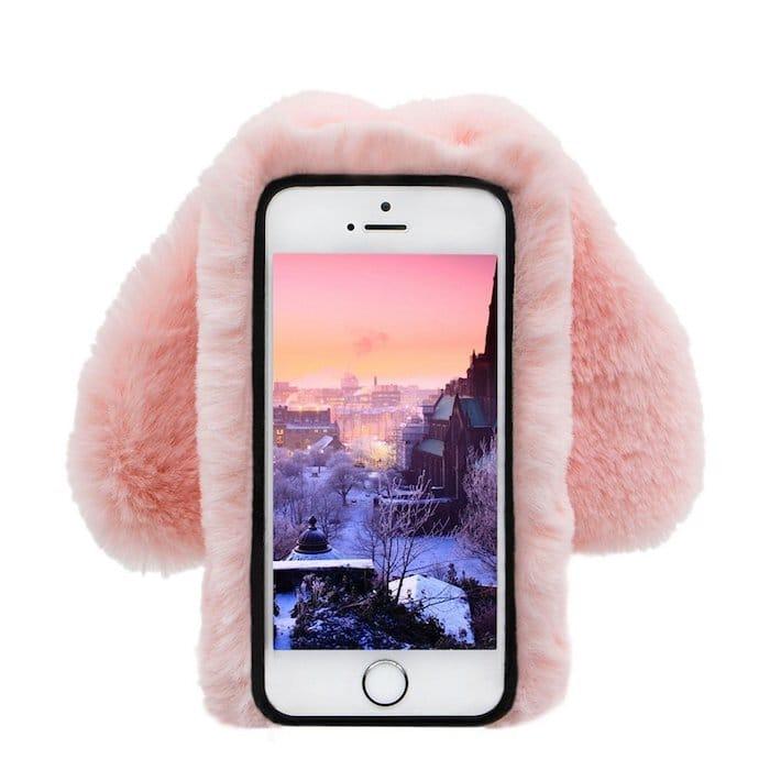 Coque pour iPhone rose fourrure