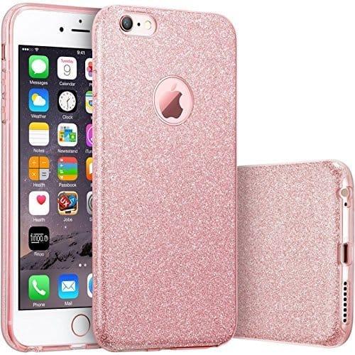 Coque pour iPhone rose paillettes
