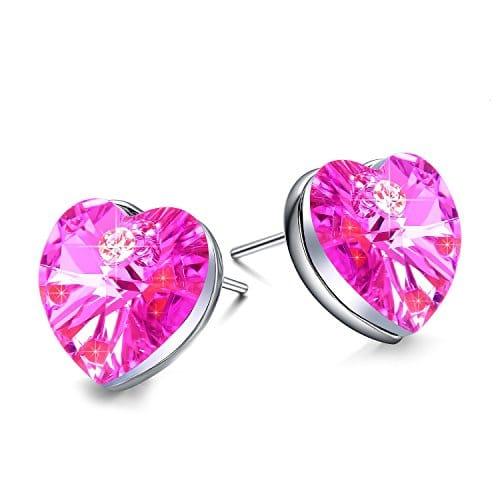 boucles d'oreilles rose forme de coeur