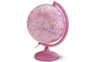 globe terrestre rose deco