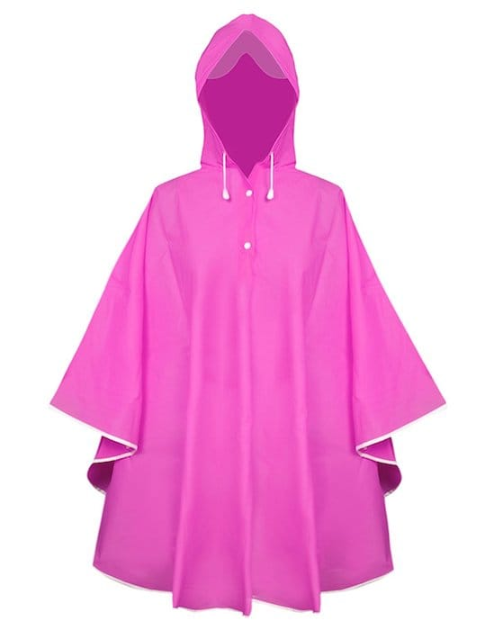 impermeable rose capuche poncho