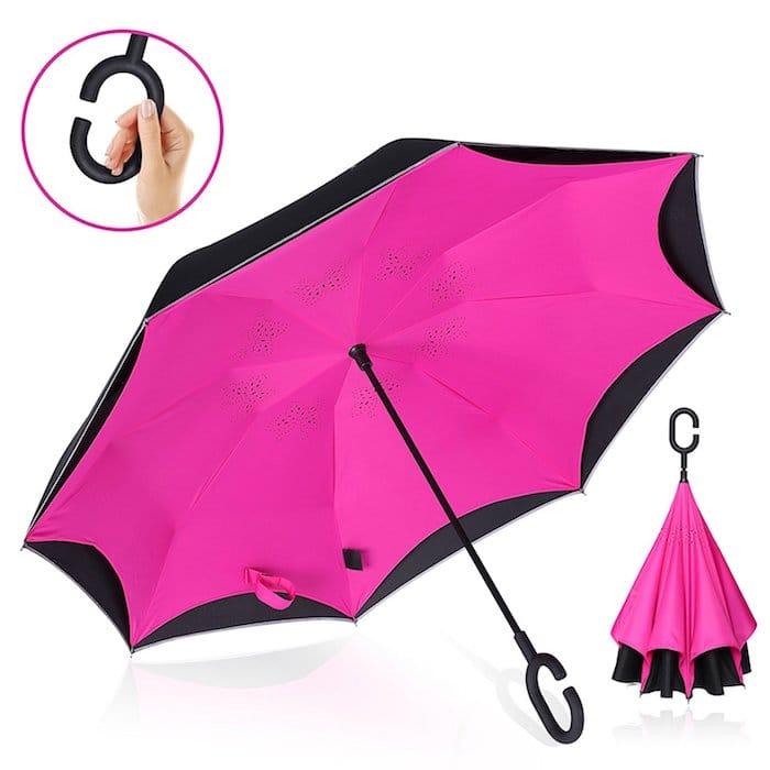parapluie rose canne