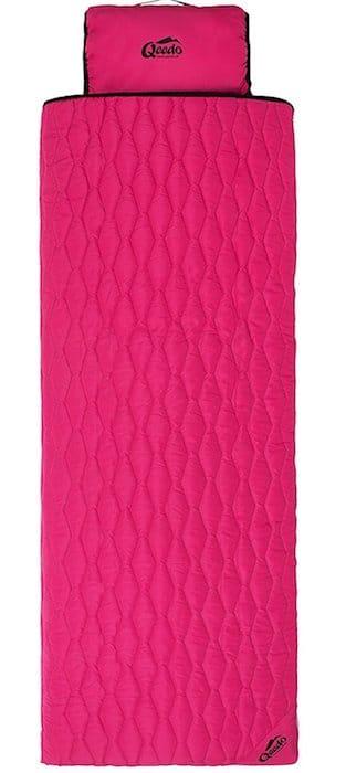 sac de couchage rose rectangulaire et pliable