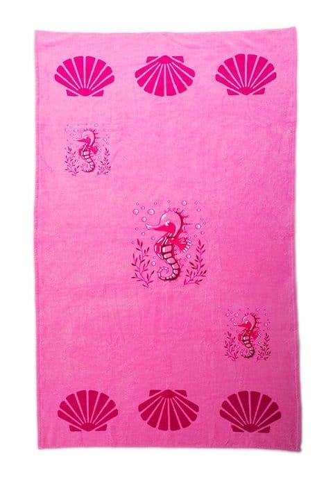 Serviette de plage rose coton