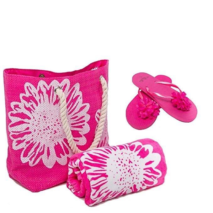 Serviette de plage rose sac plage tongs